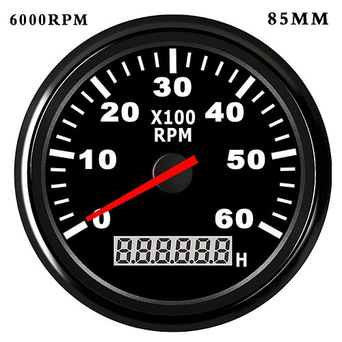85mm /52 mm Boat Tachometer with LCD Hourmeter 4000/6000/ 8000RPM Tachometer for Diesel Gasoline Engine Marine Car Tacho Meter
