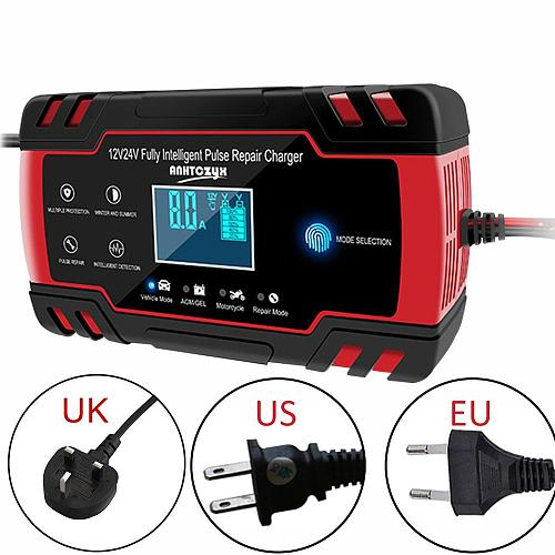 12/24V Car Battery Charger Power Touch Screen Pulse Repair Charger AGM Wet Dry Lead Acid Battery-chargers Digital LCD Display