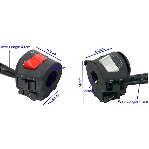 MotoLovee Motorcycle Handle Bar Left Right Switches Horn Turn Signal Headlight Electric Start Handlebar Controller Switch
