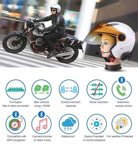 Fodsports V6 Pro Motorcycle Helmet Bluetooth Headset Intercom 6 Riders 1200M Wireless Intercomunicador BT Interphone