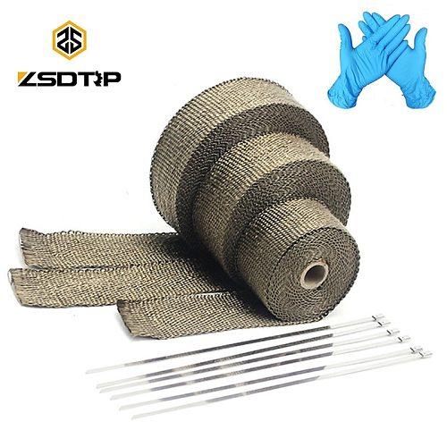 ZSDTRP 5cm*5M 10M 15M Titanium/Black Exhaust Heat Wrap Roll for Motorcycle Fiberglass Heat Shield Tape with Stainless Ties