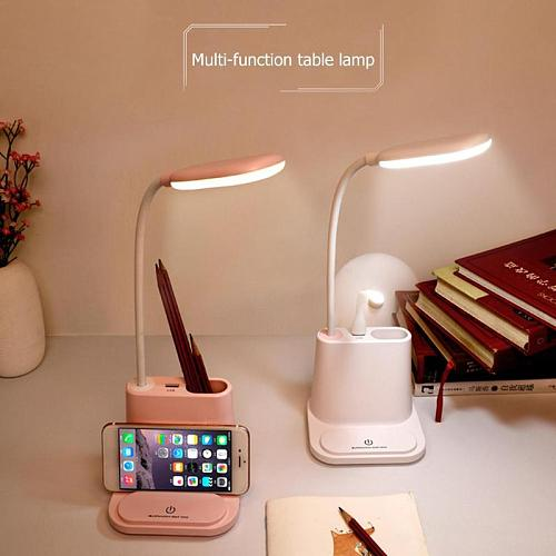 Multifunctional LED Touch Desk Lamp USB Rechargeable Bedroom Table Light Touch Dimming Adjustment Table Lamp Bedroom Living Room