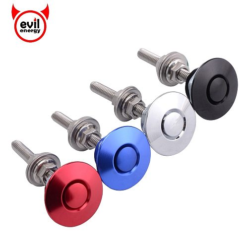 evil energy Universal 32mm/1.25  Push Button Billet Hood Pins Lock Clip Kit Engine Bonnets Lock Aluminum Car Quick Latch