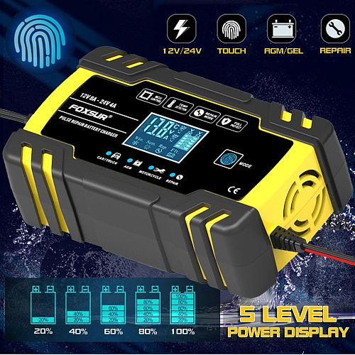 12V-24V 8A AGM/GEL Full Automatic Car Charger Power Pulse Repair Wet Dry Lead Acid Battery-Chargers Digital LCD Display