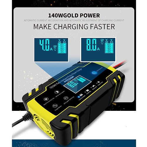 Car Battery Charger Digital LCD Display 12V 8A/24V Pulse Repair Fast Power Chargers Automatic Wet Dry Lead Acid Battery Chargers