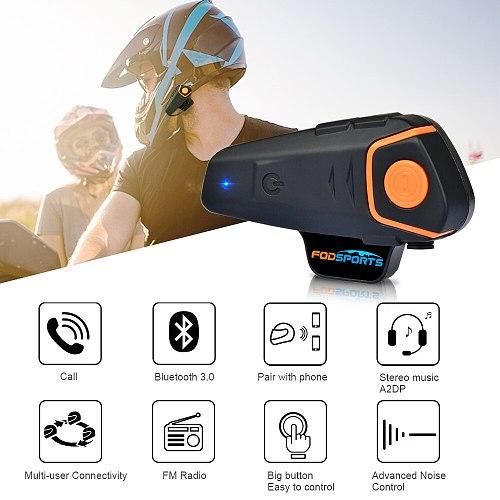 Fodsports BT-S2 Pro Motorcycle Intercom Helmet Headset Wireless Bluetooth Waterproof Interphone Intercomunicador Moto FM