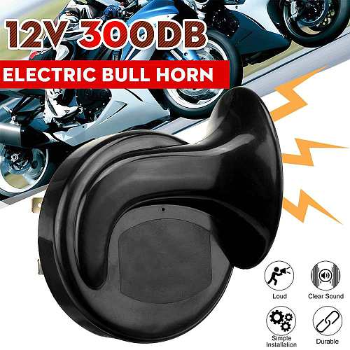 300db Loud 12V Universal Black Waterproof Electric Snail Horn Air Horn Raging Sound For Car Motorcycle Truck Boat for auto siren