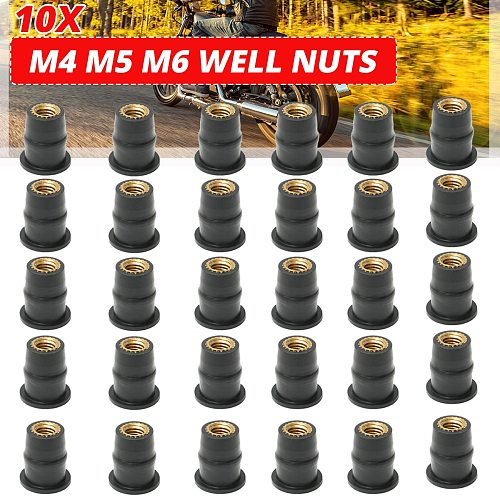 Motorcycle M4 M5 M6 Metric Rubber Well Nuts Windscreen Windshield Fairing Cowls Fastener Screws Universal