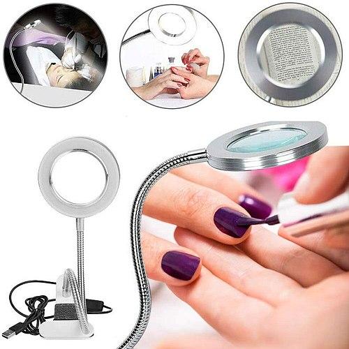 8X Magnifier Nail Beauty Light Tattoo Clip Light Makeup Equipment Tool USB Student Eye Care Reading Light Portable Desk Lamp