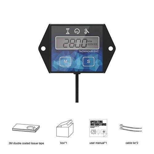 Self Powered Engine Digital Maintenance Tachometer Hour Meter for Lawn Mower Generator Dirtbike Motorcycle