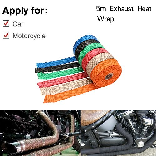 Free Shipping Universal MOTORCYCLE Incombustible Turbo MANIFOLD HEAT EXHAUST THERMAL WRAP TAPE STAINLESS TIES 1.5mm*25mm*5m