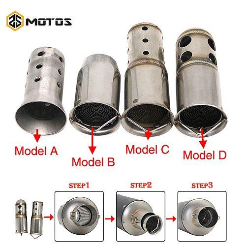ZS MOTOS 51mm 60mm Inlet Motorcycle Exhaust Muffler Adjustable DB Killer Silencer Noise Sound Eliminator Front Catalyst