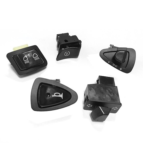 Motorcycle Start Switch Horn Light Turn Signal High Low Beam Button Switch Connecters For Scooter ATV Moped Part