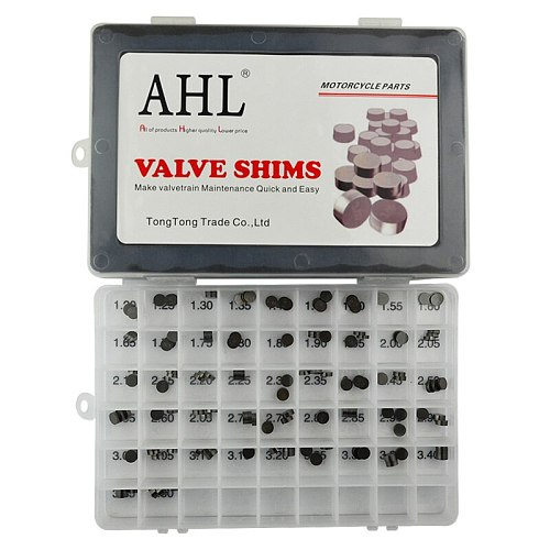 AHL 141pcs Motorcycle Engine Parts Adjustable Valve Shim 7.48mm Complete Refill Kit For Honda Suzuki Yamaha Kawasaki ER6N