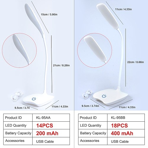 Flexible LED Table Lamp With Rechargeable Battery Stand Desk Lamp Touch Sensor Switch 3 Dimmers Study Reading Table Lamp USB