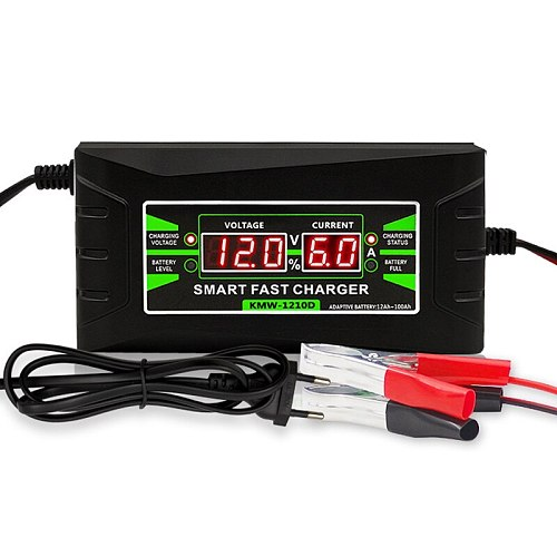 Full Automatic Car Battery Charger 90V To 260V To 12V 6A Intelligent Fast Power Charging Wet Dry Lead Acid Digital LCD