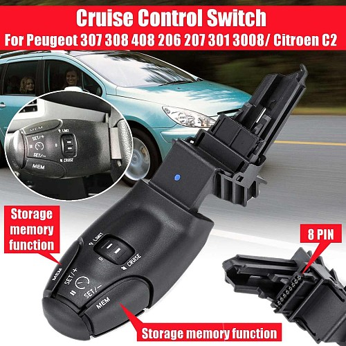 For Cruise Control Handle Switch For Peugeot 307 308 408 206 207 301 3008/ For Citroen C2 with Storage memory function #6242Z9