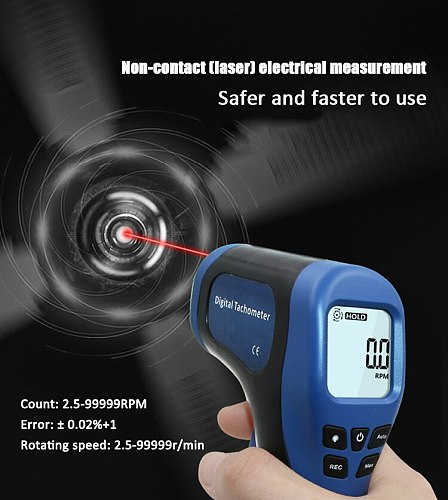 ProfessionTachometer Digital LCD Tachometer Laser Non-Contact Tach Range 2.5-99999RPM Motor Speed Gun Style Speed Meter