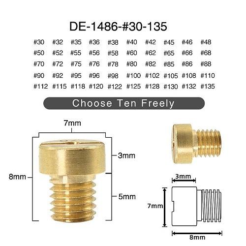 ZSDTRP 12pcs M5 Thread Replacement #30-#135 Carburetor Jets For Dellorto SHA PHBG Carb main Injector nozzle NC PHVA Pilot Jet