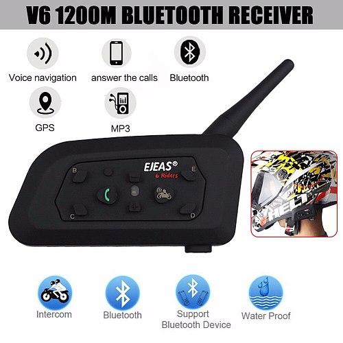 2020 Version EJEAS V6 Pro Intercom Helmet Bluetooth Headset 850mAh Intercomunicador Moto Microphone 1200m For 6 Riders
