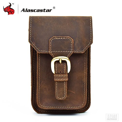 Motorcycle Bag Men Full Grain Cow Leather Mini Waist Bag Retro Vintage Phone Bags Luggage Bag Fanny Pack