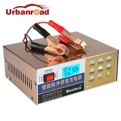 Car Battery Charger 12v 24v Full Automatic Electric Car Battery Charger Intelligent Pulse Repair Type 100AH for Motorcycle