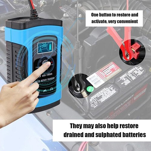 Automatic Car Battery Charger Intelligent Repair Type Fast Power Charging Lead Acid Digital LCD Display Parts Auto Accessories