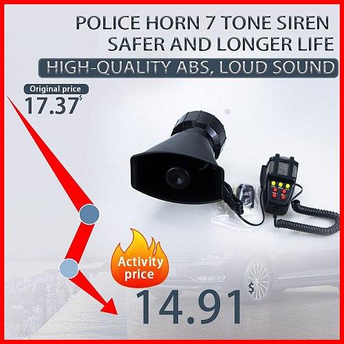 12V Polic Siren Emergency Fire Car Horn 7-Sound Loud Car Warning Alarm With Mic PA  Speaker System Amplifier Hooter Megaphone