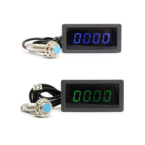 1/2pcs 4 Digital LED Blue Green Tachometer Gauge RPM Speed Meter+Hall Proximity Switch Sensor NPN 12V Dropshipping