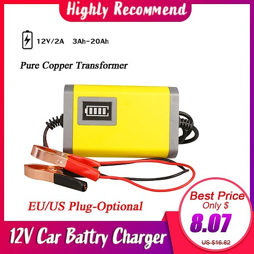 Car Motorcycle Battery Charger 12V 2A Full Automatic Smart Power Charger Maintainer 3 Stages Lead Acid AGM GEL LED Display