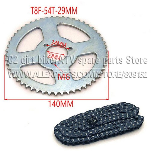 47cc 49cc T8F chain 136 Links and 38 54 74 teeth Chain plate sprocket for mini moto atv quad 2 stroke engine parts accessories