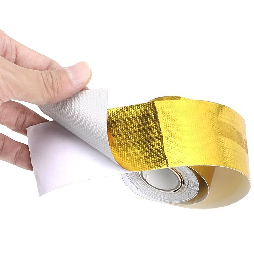 LEEPEE 5cm*5m Insulation Self adhesive Tape High Temperature Resistance Gold Car Accessories Intake Tube Aluminum Foil Tape