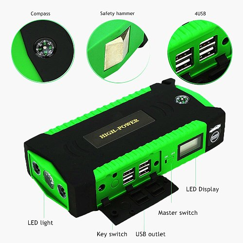 GKFLY Car Jump Starter Multi-Function 16000mAh Starting Device Cables 12V Diesel Petrol Charger For Car Battery Booster Buster