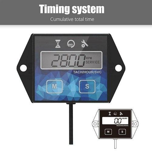 1 X Tachometer Hour Meter Digital Waterproof Engines Motorcycle ATV Boat Meters Tachometer Hour Meter Speed Timer Reset Timers