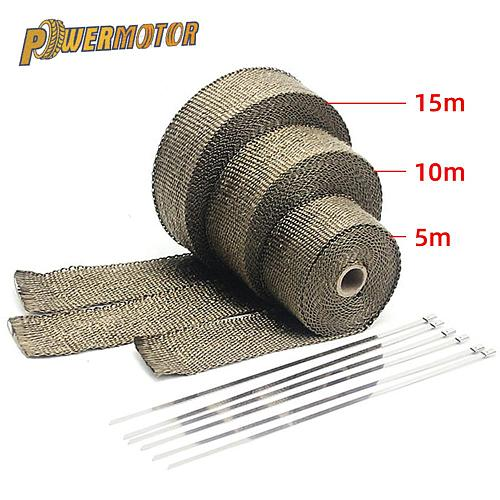 5/10/15/20M Motorcycle Exhaust Thermal Tape Exhaust Heat Tape Wrap Manifold Insulation Roll Resistant with Stainless Ties