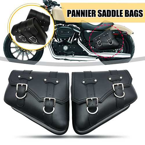 Pair Black Motorcycle Saddlebags Throw Under Seat Side Tools Luggage Bag Pouch For Honda/Yamaha/Suzuki