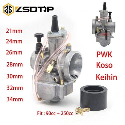 ZSDTRP 2T/4T Engine Motorcycle Keihin Koso PWK Motorcycle Carburetor Carburador 21 24 26 28 30 32 34 mm With Power Jet
