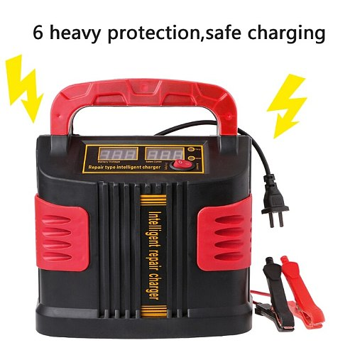 Automotive Car Battery Charger 350W 14A AUTO Plus Adjust LCD Battery Charger Terminals 12V-24V Car Jump Starter Portable