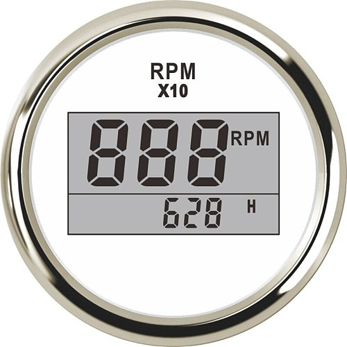 2 (52mm) Auto Truck Boat Digital Tachometer 0-9990 RPM With Hourmeter fit for Boat Car Truck Motorcycle Red Backlight 9-32V