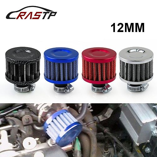 Universal Interface Motorcycle Air Filters 12mm Sliver Car Cone Cold Air Intake Filter Turbo Vent Crankcase Breather RS-OFI003