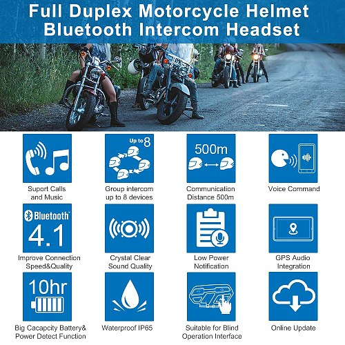 Fodsports M1-S Pro Helmet intercom Headset Motorcycle Waterproof Intercom Bluetooth interphone 8 Rider 2000M Intercomunicador