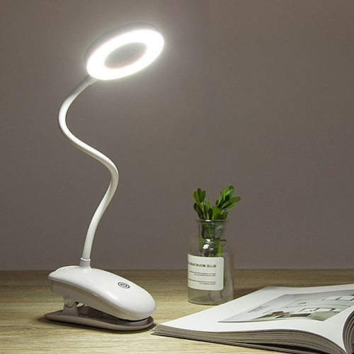 Table LED Desk Lamp Touch Clip Study 3Modes Clip Lamp 7000K Eye Protection USB Table Light Dimmer Rechargeable Stepless Dimmable
