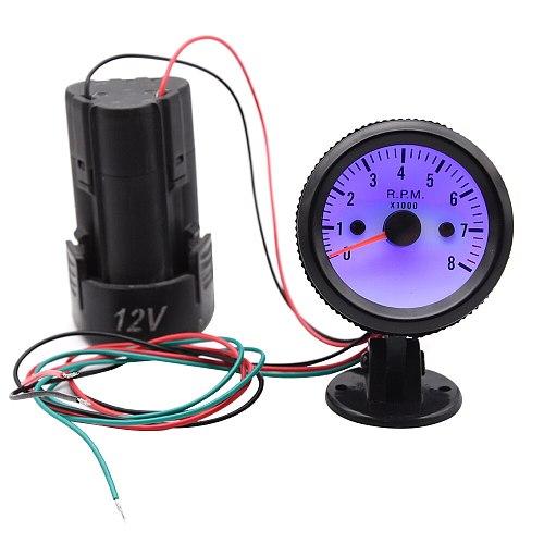 Universal 2  Tach Gauge Meter 52mm 12V Blue LED 0~8000RPM Car Tachometer with Sensor for Gasoline car/ Truck / ATV tacometro rpm