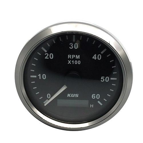KUS 85MM Gasoline Diesel Engine Tachometer 0-6000RPM With Hourmeter Marine Outboard Boat Truck Car RV Waterproof Meter