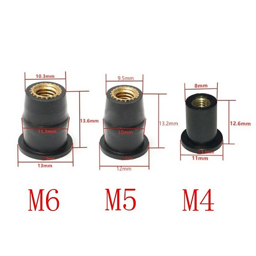 Motorcycle M4 M5 M6 Metric Rubber Well Nuts Windscreen Windshield Fairing Cowls Fastener Screws Universal