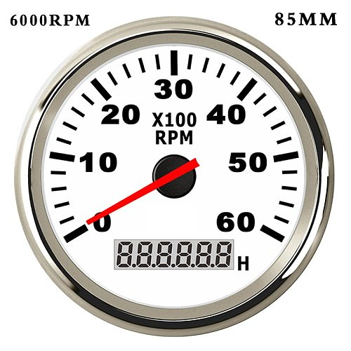 6K/8K RPM Boat Tachometer for Diesel Gasoline Car Boat rpm Meter Gauge with Hourmeter Red Backlight  9~32V