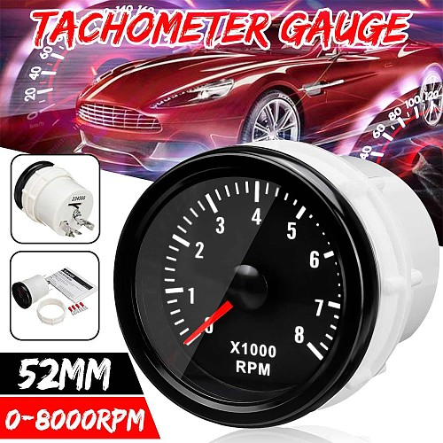 52mm 0-8000 RPM (On dash) Electrical Tachometer Gauge For Diesel Motor Engine 12V