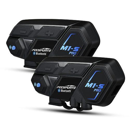 Fodsports 2 pcs M1-S Pro motorcycle helmet intercom bluetooth helmet headset 8 rider 2000M group BT Interphone