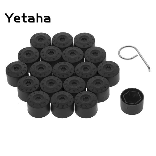 Yetaha 20pcs 17mm Wheel Lug Nut Bolt Cap Covers With Removal Tool For Volkswagen Golf Passat Beetle Audi Skoda Black Car Styling