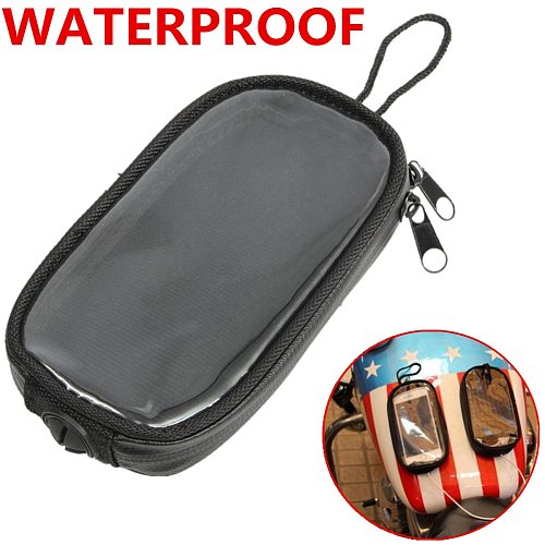Universal Black Motorcycle Tank Bags Magnetic Gas Tank Clear For Cell Phone Case Holder Mount